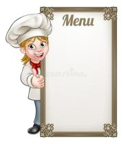 cartoon-woman-chef-menu-female-baker-character-giving-thumbs-up-sign-board-80665909